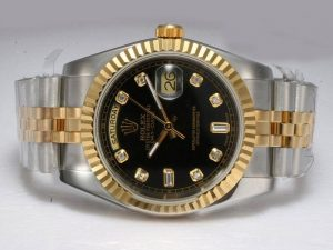 Rolex-Day-Date-Automatic-Black-Dial-Diamond-Markings-Watch-56